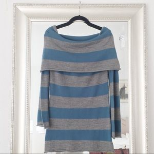 Cowl Neck Blue Striped Sweater